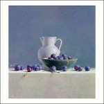 Still life with plums and Spanish pitcher
