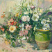 Green vase and bouquet