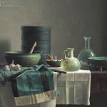 Romeins glas en Chinese rok op Spaanse tafel