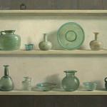 Romeins glas in kast
