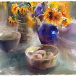Zonnebloemen en mango's