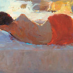 Reclining model in red